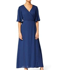 Maxi Chiffon Wrap Dress With Bell Sleeves
